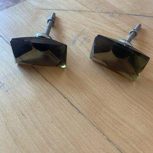 (2) rectangular geometric sheer light black knobs